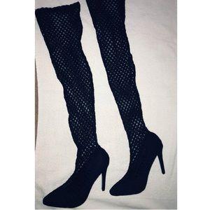Thigh high fish net mesh Stiletto black heels